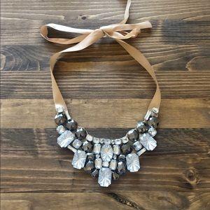 Rhinestone fashion statement bib necklace